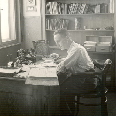 Photo of an engineer at his desk