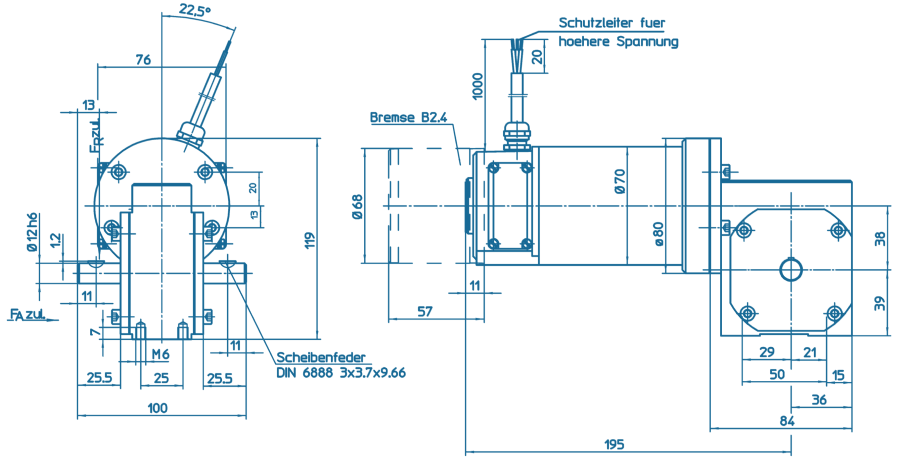 Blueprint of a GNM Series motor with gearbox