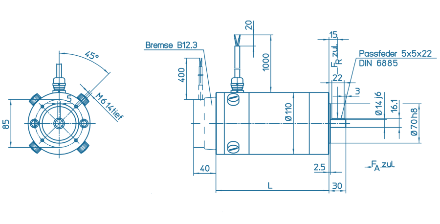Blueprint of a GNM Series motor