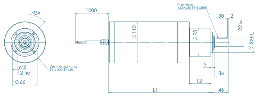 Blueprint of a VGM Series motor with gearbox
